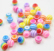 DIY 100/200Pcs Mixed Colorful Round Acrylic Loose Spacer Beads Jewelry 6mm 8mm