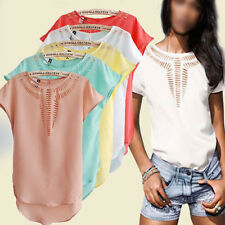 New Lady Colourful Loose Hollow Chiffon Irregular Hem T-Shirts Tank Blouses Tops