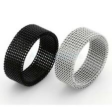 Mens Jewelry Stainless Steel Soft Mesh Structure Design 8mm Width Cool Mens Ring