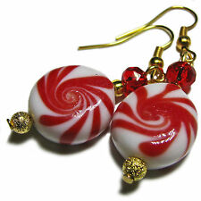 Cute Christmas Candy Lampwork Bead Earrings By SoniaMcD