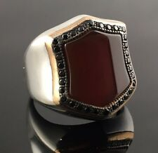 Unique. 925 Sterling Silver Red Agate Aqeeq Stone Men`s Ring -US Seller - K8C