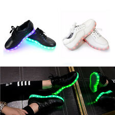 Unisex Cool LED Light Lace Up Sportswear Sneaker Luminous Casual Shoes 10 Size