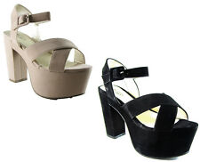 NEW LADIES WOMENS SUEDE PLATFORM BLOCK HEEL CRISS CROSS STRAPPY WEDGE SHOES SIZE
