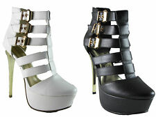 LADIES WOMENS HIGH HEEL PLATFORM GLADIATOR GOLD BUCKLE STRAPPY CUTOUT SHOES SIZE