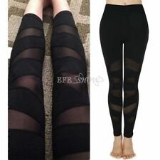 New Womens YOGA Workout Gym Mesh Sports Pants Leggings Fitness Stretch Trouser