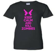 Keep Calm And Kill Zombies Womens T-Shirt Funny Humor Ladies Tee More Colors