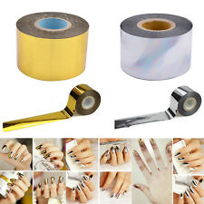 1 Roll 4cmX120m Gold Silver Nail Art Transfer Foil Stickers DIY Decals Decora