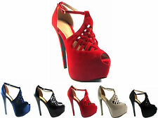 NEW LADIES WOMEN HIGH HEEL PLATFORM STILLETO PEEPTOE STRAPPY PARTY SHOE SIZE3- 8