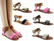 NEW LADIES WOMENS GIRLS FLAT SUMMER ANKLE STRAP GLADIATOR SANDAL SHOES SIZE3 - 8