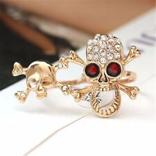 Chic Typical Gothic/Punk Gold/Silver Crystal Skull Two Finger Double Ring