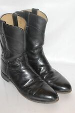 Mens JUSTIN Black Leather ROPER Vintage Western Low Heel Riding Boots Sz 9.5 D