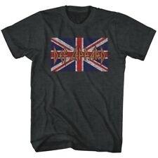 T-Shirts New Authentic Def Leppard Flag Tee Shirt in Black Heather Sizes S-2XL