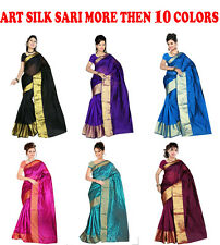 INDIAN ART SILK SARI SAREE WOVEN GOLDEN BORDER WITH BLOUSE PIECE DESIGN DECOR