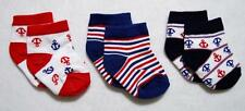 INFANT BABY BOYS 0-6M NAUTICAL STRETCH SOCKS~ANCHORS & RED, WHITE & BLUE STRIPES