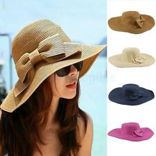 Ladies Summer Straw Bowknot Foldable Floppy Sun Hat Wide Brim Beach for Women