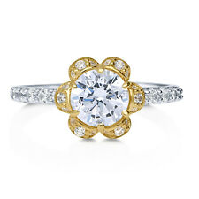 BERRICLE Yellow Gold Plated Sterling Silver CZ Flower Fashion Right Hand Ring