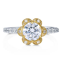 BERRICLE Sterling Silver CZ Flower Promise Fashion Ring 1.3 Carat