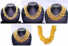 2/3/5/6 LINE MULTI UNTREATED NATURAL REAL YELLOW CITRINE GEMSTONE BEADS NECKLACE