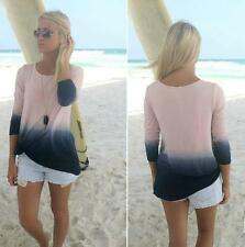 Round Collar Top Beautiful Long Sleeve Fashion Gradient Color Blouse