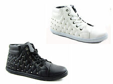 NEW WOMEN LADIES GIRLS STUDDED ANKLE BOOT TRAINER IN SIZES 3 - 8
