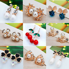 Charm Fashion Pearl Crystal Rhinestone Ear Stud Dangle Earrings Charming Jewelry