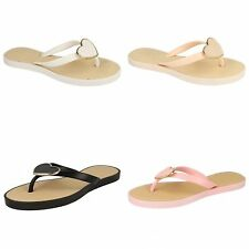 Spot On Womens/Ladies Metal Heart Toe Post Flip Flops