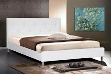 WHITE FAUX LEATHER QUEEN OR KING BED NEW MODERN CRYSTAL BUTTON TUFTED HEADBOARD