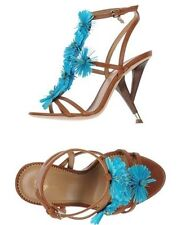 $1190 DSQUARED2 6/36 37/7 Brown Strappy Blue Flower Sculpted Heel Sandals Shoes