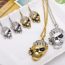 Silver /Gold Rhinestone SKull Jewelry Sets Women Necklace Earrings Gifts Fashion