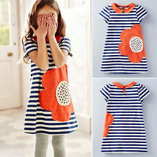 Summer Kids Baby Girls Toddlers Floral Print Stripes Short Sleeve Casual Dress