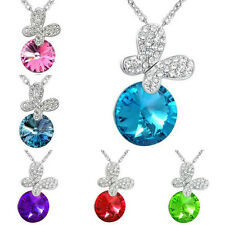 Charm Pendant Chain Silver Crystal Butterfly Choker Chunky Bib Necklace Jewelry
