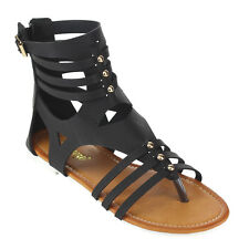 Reneeze Women's Zipper Strappy Cut Out Stud Gladiator Flat Sandals New In Box