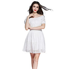 Women Summer Lace Hollow Off-shoulder Boat Neck Elastic Waist Dress