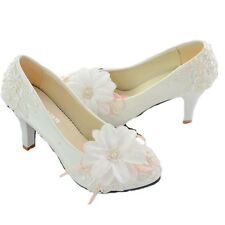 Pink White Lace Floral Bridal Wedding Shoes High Heels Flat Platform Party 008 L