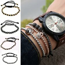 NEW Women Men's NEW Beads Stone Braiding Macrame Rope Adjustable Bracelet Bangle