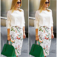 Women Girl Floral Printing Knee-Length Package hip skirt Pencil Skirt Dress 2016