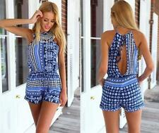 Bohemian Beach shorts Jumpsuit Halter Backless Shorts Rompers Women's Sexy