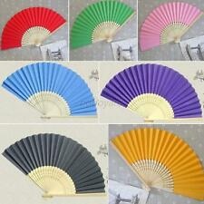 Chinese Retro Bamboo Folding Hand Held Paper Fan Dancing Wedding Party Decor