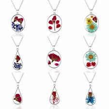 Women Elegant Real Natural Dried Flower Glass Round Drop Charm Necklace Pendant
