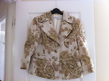 Size 10 Planet Kinen Dressy Jacket, Floral In Beiges, Cream & Dark Gold, Wedding