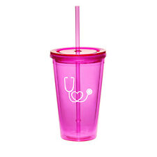 16oz Double Wall Acrylic Tumbler Pool Cup With Straw Heart Stethoscope Nurse