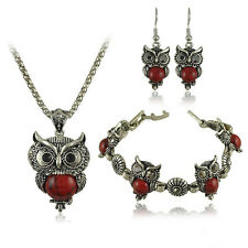 Antique Tibetan Crystal Owl Turquoise Necklace Bracelet Earrings Jewelry Sets