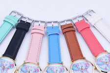 Fashion Women's Band Pattern Faux Leather Quartz Analog Wrist Watch Elephant