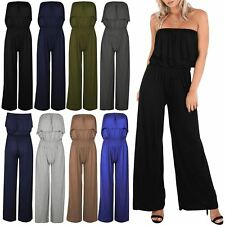 Ladies Playsuit Womens Short Bandeau Strapless Boob Tube Jersey Stretch Jumpsuit