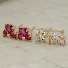Lovely 18K Yellow Gold Filled Rainbow Swarovski Crystal Womens Stud Earring