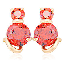 Gold Filled Cat White Red Earrings Crystal Womens Stud earing Free shipping