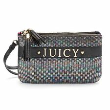 Juicy Couture, Purse Wristlet Clutch Black-Muti-Pearl Pyth Gray-Neon Orange-NWT