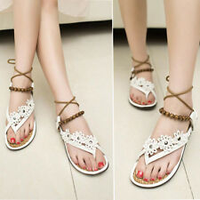 Fashion Women Girl Summer Flower Flat Flip Flops Sandals Loafers Bohemia Shoes