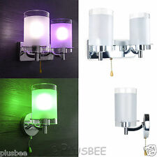 Modern Silver Chrome & White Glass Indoor Sconce Wall Light Lamp Lights Fittings