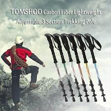 Telescopic Trekking Pole Carbon Fiber Hiking Walking Stick 3 Section SP M4H4